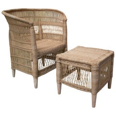 Spanish Hand Woven Rattan Armchair & Low Puff Stool