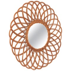 Spanish Handcrafted Rattan Mirror with Flower Shape