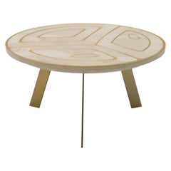 """""""Spanish Harlem"""" Gold and White Coffee Table by Ivan Paradisi, Italy"""