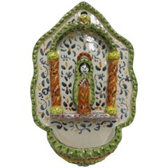 Spanish Holy Water Ceramic Font Midcentury, Signed