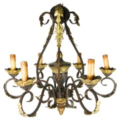 Spanish Iron and Gilt Ornate Chandelier