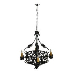 Spanish Iron Chandelier, circa 1930
