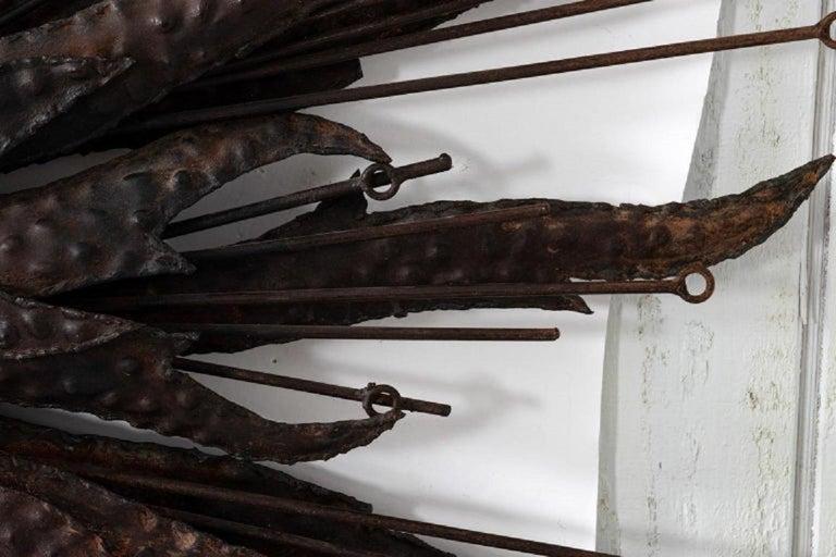 Vintage Hammered Iron Starburst Mirror For Sale 1