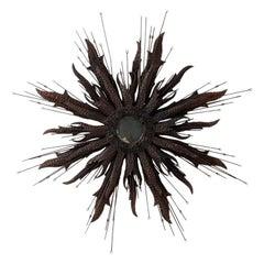 Vintage Hammered Iron Starburst Mirror