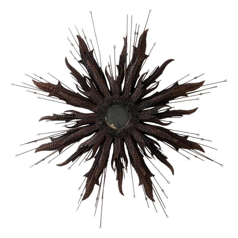 Vintage Hammered Iron Starburst Mirror For Sale