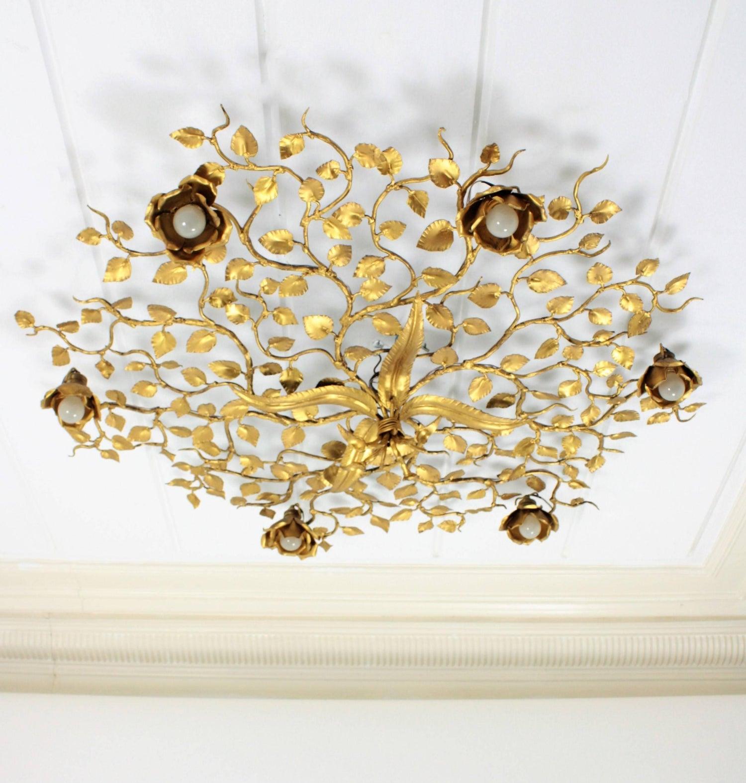 Spanish large gilt iron ornate flower bush ceiling light fixture or spanish large gilt iron ornate flower bush ceiling light fixture or wall light at 1stdibs arubaitofo Image collections