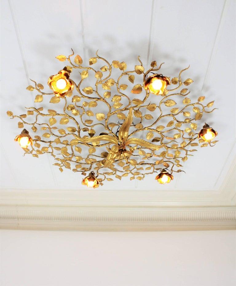 Huge Gilt Iron Ornate Floral Ceiling Light Fixture / Wall Light ...