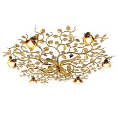 Spanish Large Gilt Iron Ornate Flower Bush Ceiling Light Fixture or Wall Light