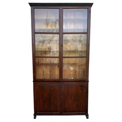 Spanish Large Pine Cupboard or Bookcase with Glass Vitrine, 19th Century
