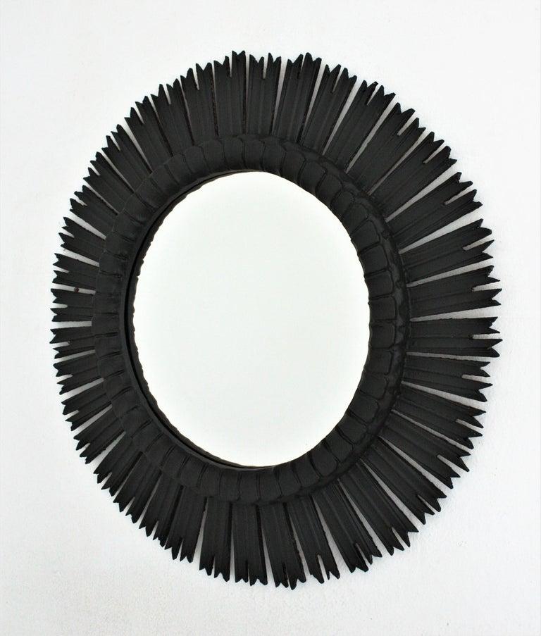 Spanish Large Sunburst Mirror in Black Patina, 1940s 2