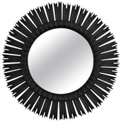 Spanish Large Sunburst Mirror in Black Patina, 1940s