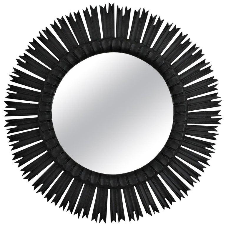 Spanish Large Sunburst Mirror in Black Patina, 1940s