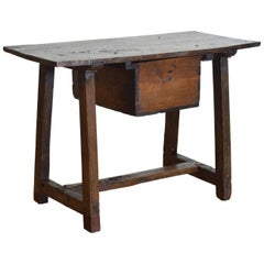 Spanish Late Baroque Period Upland Pinewood One-Drawer Table, 17th-18th Century