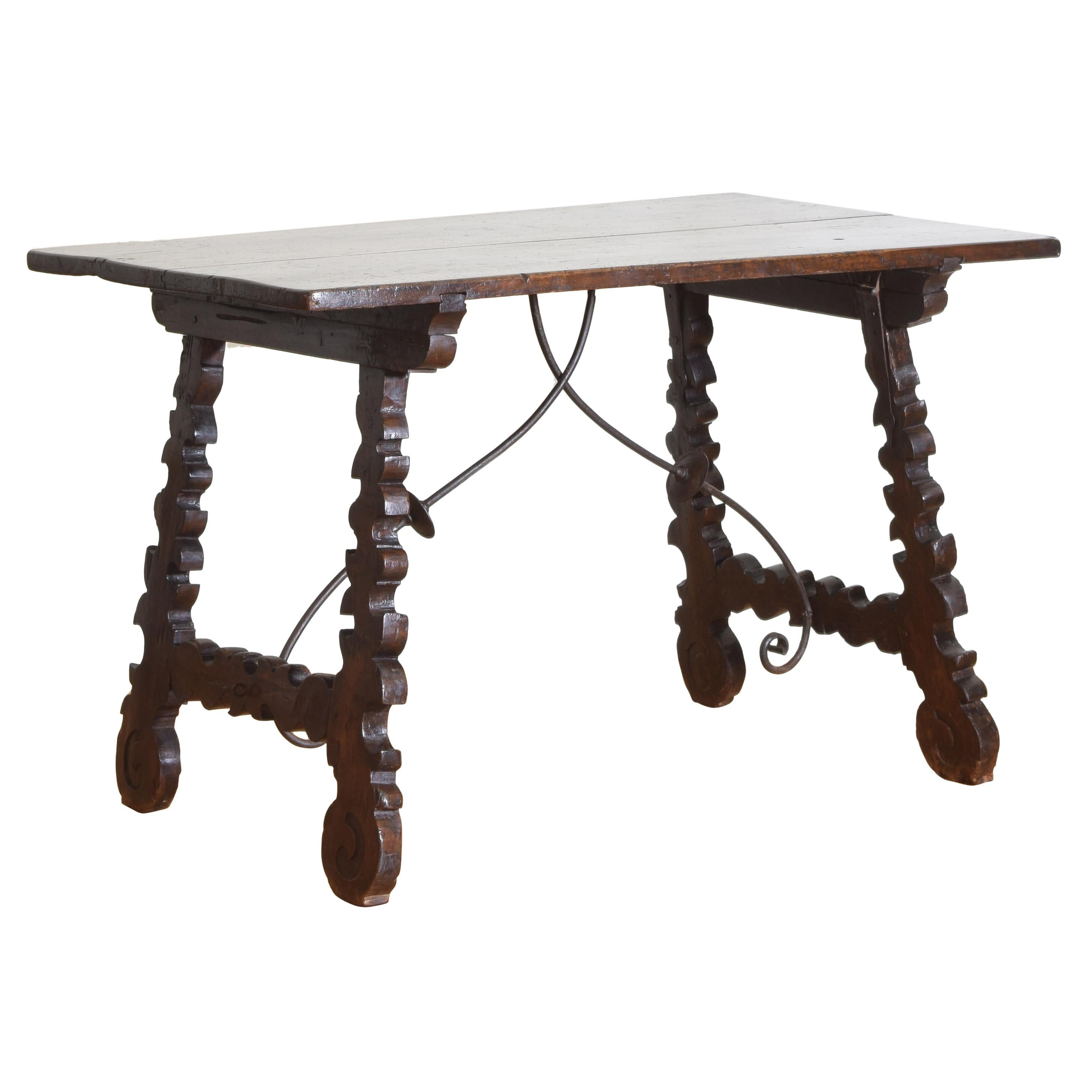 Spanish Late Baroque Walnut & Iron Mounted Guard Room Table