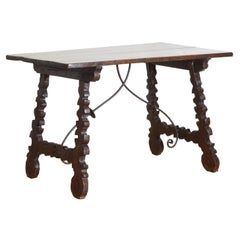 Spanish Late Baroque Walnut & Iron Mounted Guard Room Table