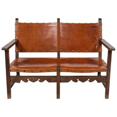 Spanish Leather Bench with with Wooden Frame