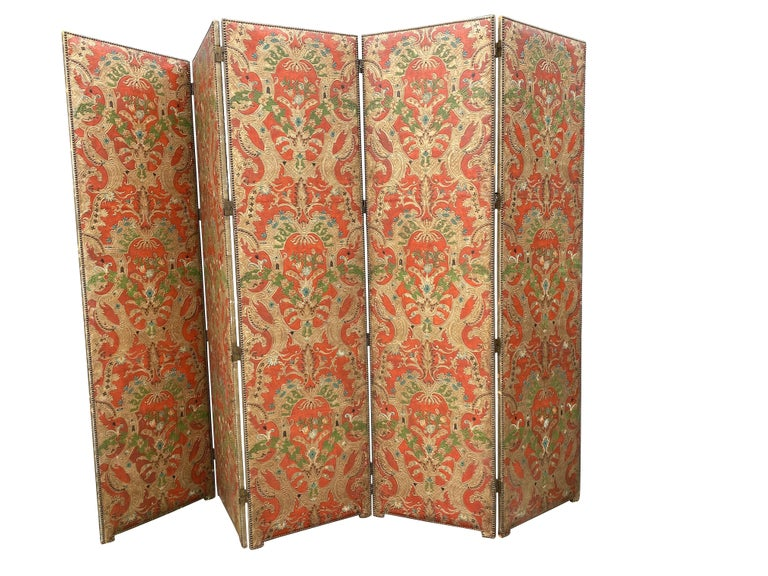 20th Century Spanish Leather Five Panel Screen For Sale