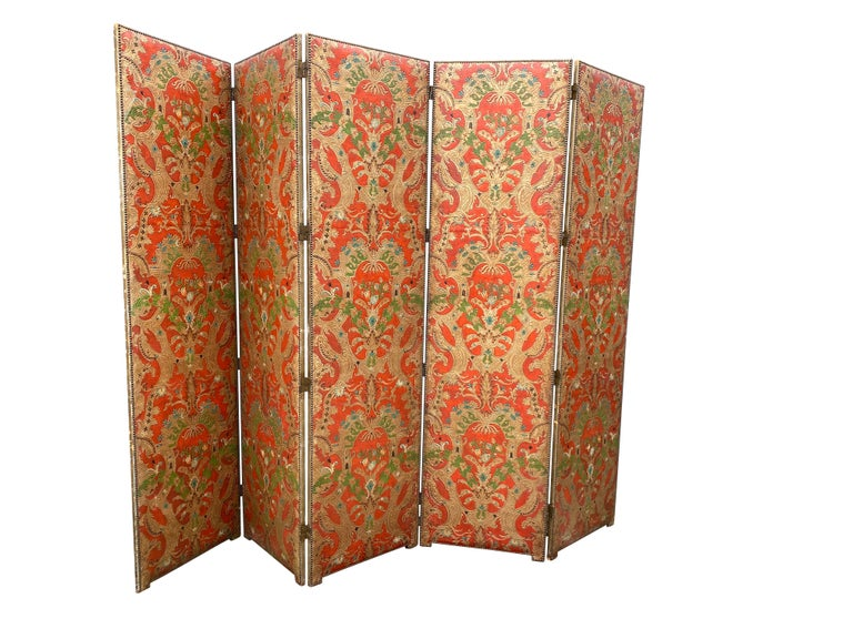 Spanish Leather Five Panel Screen For Sale 3