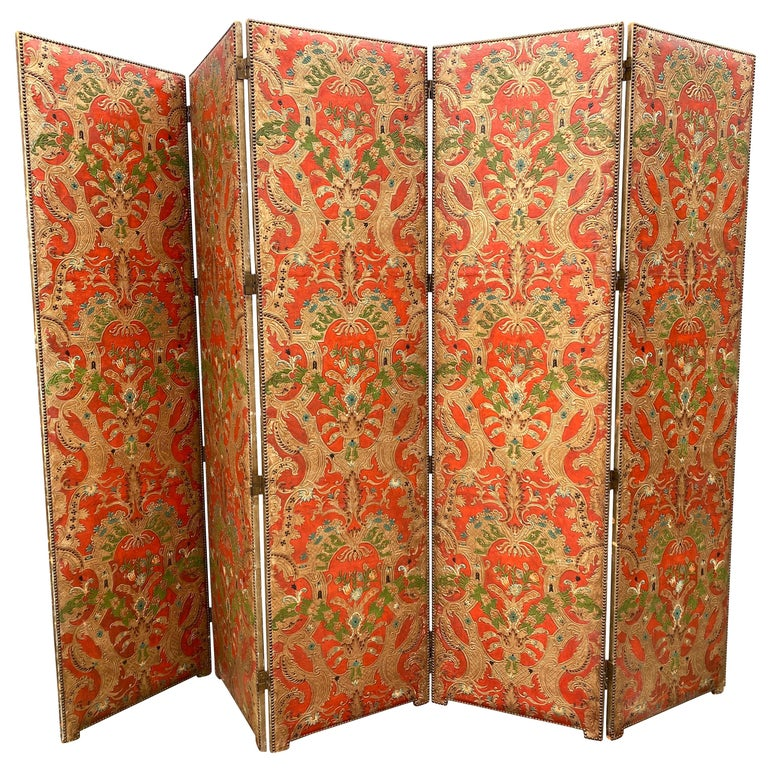 Spanish Leather Five Panel Screen For Sale