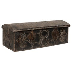 Spanish Leather-Wrapped Coffer with Nail Head Decor Trimmings