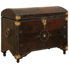 Spanish Leather-Wrapped Domed Coffer with Brass Accents from the 19th Century