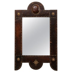 Spanish Leather Wrapped Mirror with Brass Nail-Head Accents, Mid to Late 19th C.