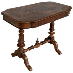 Spanish Light Oak Oval Coffee Table with Burl Top