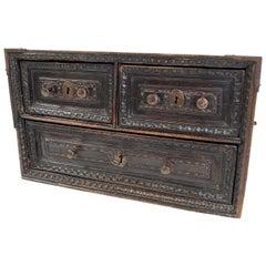 Spanish Little Wooden Cabinet in Walnut
