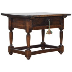 Spanish Louis XIII Low Walnut One Drawer Table First Quarter of the 18th Century
