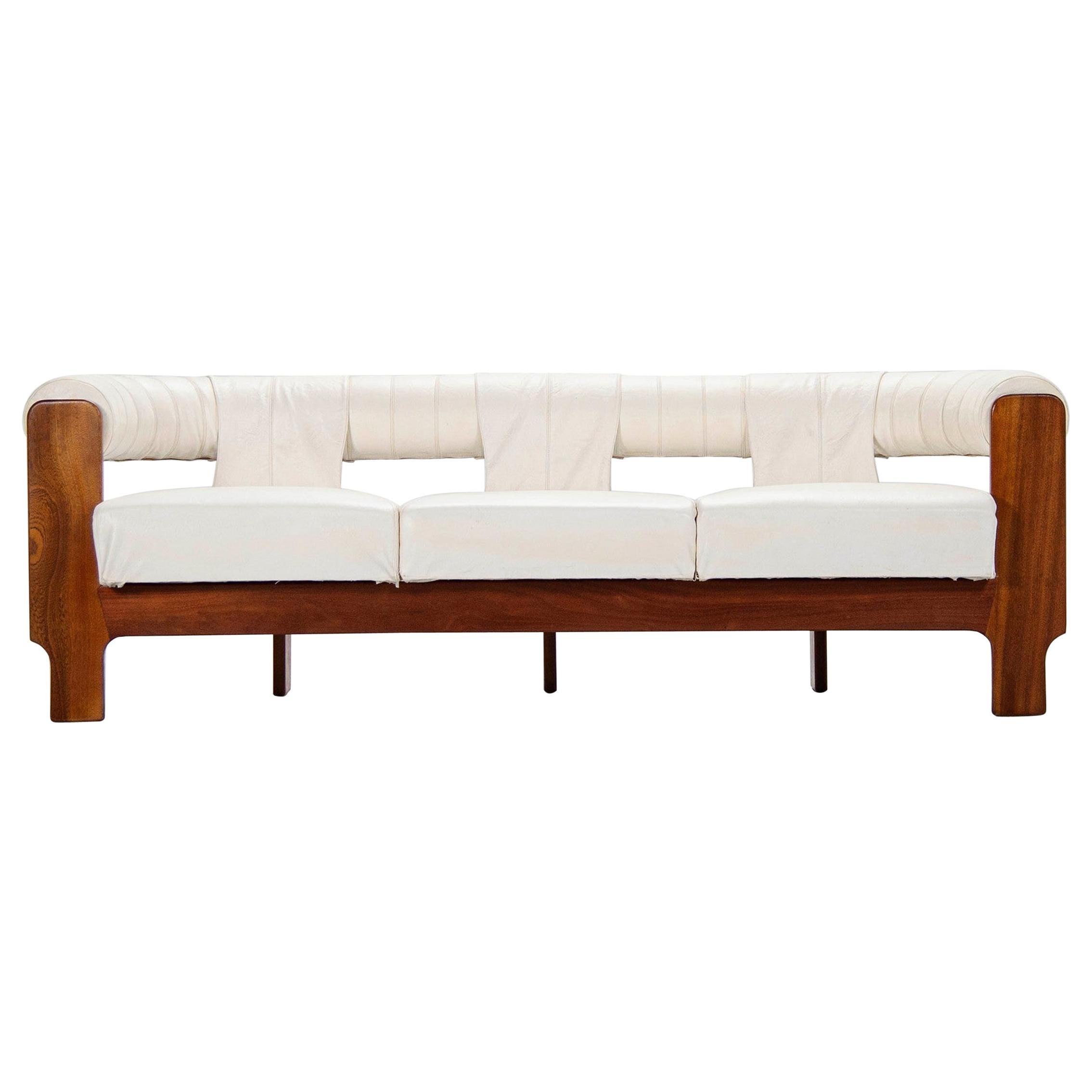 Spanish Lounge Sofa in Teak and White Leatherette, 1970