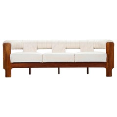 Spanish Lounge Sofa in Teak and White Leatherette, 1970
