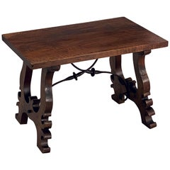 Spanish Low Table of Walnut with Wrought Iron Supports