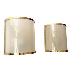 Spanish Lucite and Brass Wall Sconces by Metalarte, 1970s