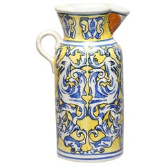 Spanish Majolica Jug or Floor Vase in Blue and Yellow