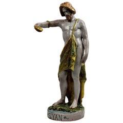 Spanish Majolica Statue of John the Baptist