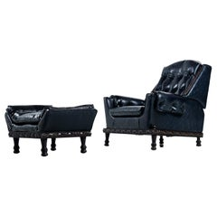 Spanish Meditteranean Style Black Tufted Vinyl Recliner Lounge Chair and Ottoman