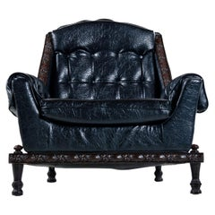 Spanish Mediterranean Style Black Tufted Vinyl Recliner Lounge Chair