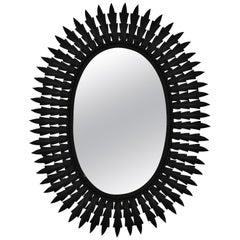 Spanish Metal Sunburst Oval Mirror Painted in Black, 1960s