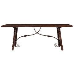 Spanish Mid-19th Century Country Style Dark Oak Trestle Dining/Center Table
