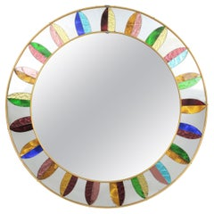 Spanish Mid-20th Century Round Mirror Framed with Multicolored Mirrored Glasses