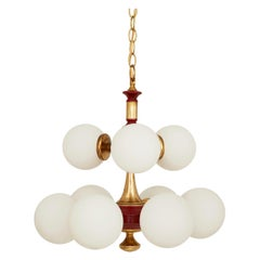 Spanish Midcentury Brass Chandelier with Red Details