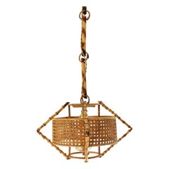 Spanish Mid-Century Modern Bamboo Rattan & Wicker Pendant Lamp with Tiki Accents