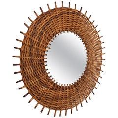 Spanish Mid-Century Modern Braided Rattan and Wicker Round Sunburst Mirror