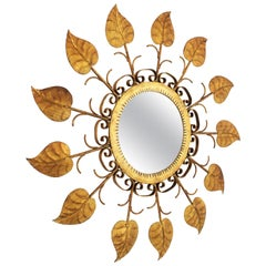 Spanish Mid-Century Modern Gilt Iron Sunburst Leafed Mirror with Scrolls