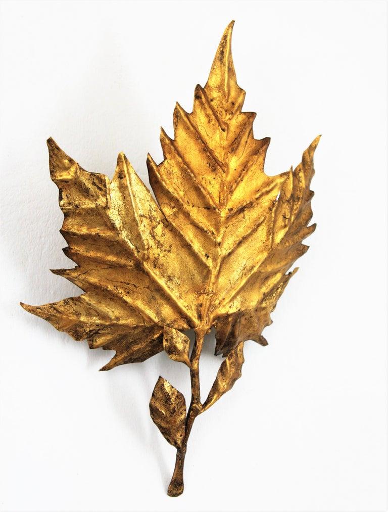 Spanish Mid-Century Modern Gold Leaf Gilt Iron Leaf Design Wall Light Fixture For Sale 4