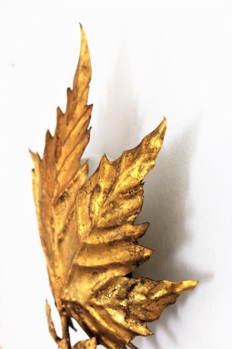 Spanish Mid-Century Modern Gold Leaf Gilt Iron Leaf Design Wall Light Fixture For Sale 6