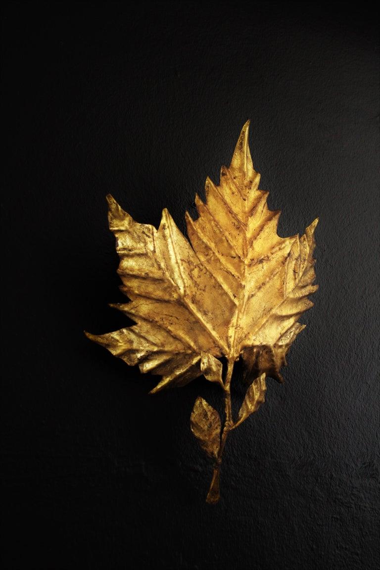 Brutalist Spanish Mid-Century Modern Gold Leaf Gilt Iron Leaf Design Wall Light Fixture For Sale