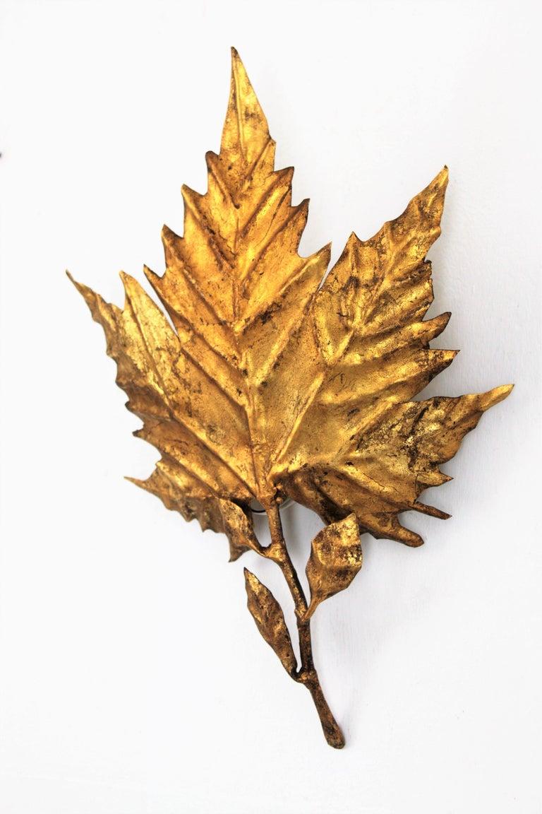 Mid-20th Century Spanish Mid-Century Modern Gold Leaf Gilt Iron Leaf Design Wall Light Fixture For Sale