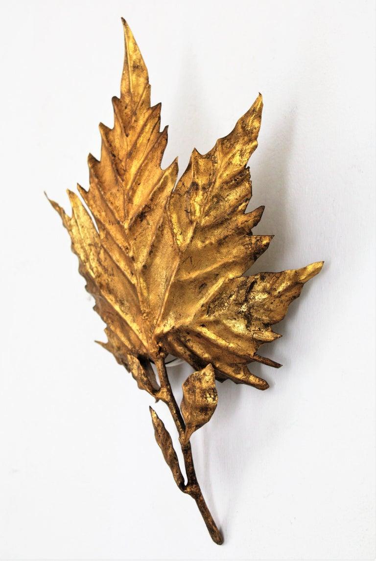 Metal Spanish Mid-Century Modern Gold Leaf Gilt Iron Leaf Design Wall Light Fixture For Sale
