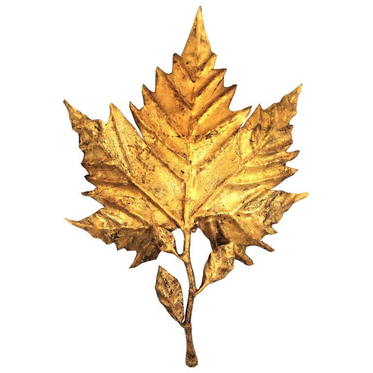 Spanish Mid-Century Modern Gold Leaf Gilt Iron Leaf Design Wall Light Fixture For Sale